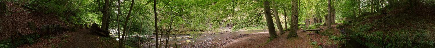 Panorama showing Powder Mill in Roslin Glen